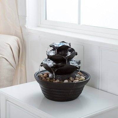 Lighted Three Tier Soothing Cascading Tabletop Fountain With Rocks