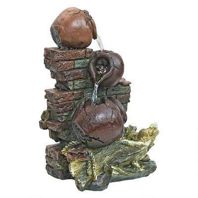 Rustic Walls Cascading Urns Water Fountain