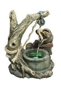 Stone Well Table Top Fountain with LED Light