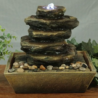 Sunnydaze Cascading Rocks Tabletop Water Fountain with LED Light