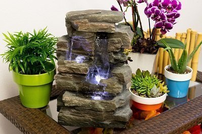 Waterfall Tabletop Fountain with White LED Light, Gray, 13 Inch Tall