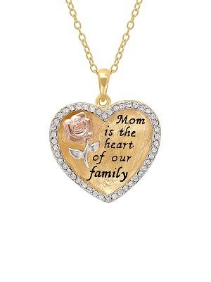 Mom Is The Heart Of Our Family Heart Pendant