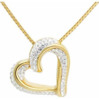 Crystal 18kt Gold over Sterling Silver Slide Heart Pendant