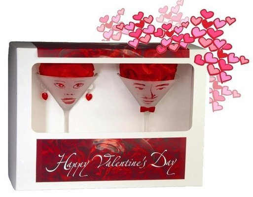 True Love Hand Made Martini Glasses with Valentines Day Message Gift Set 7.25 Oz