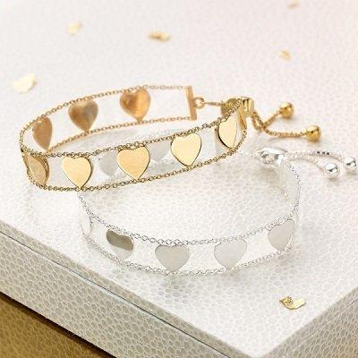 LADIES LOVE LETTERS BRACELET (SILVER OR GOLD VERMEIL)