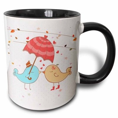 Cute Valentine Love Birds Kissing Under Umbrella Mug