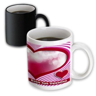 Happy Valentines Day in Italian, Heart and Bubble, Magic Transforming Mug, 11oz