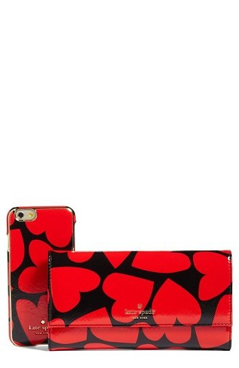 Kate Spade scattered hearts iPhone 7 leather wallet