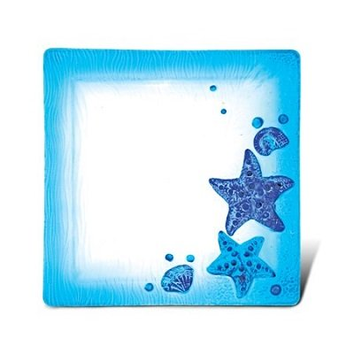 10.5 Inch Blue Square Plate - Starfish