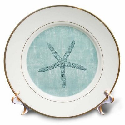 Aqua Starfish Abstract beach theme, Porcelain Plate, 8-inch