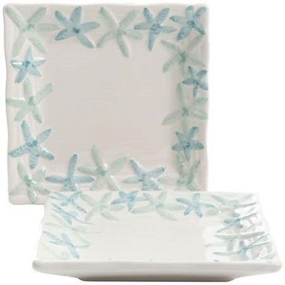 Starfish Appetizer Plate Set  sc 1 st  Seasons Charm & Turquoise Starfish Dinnerware Set For A Beach Themed Kitchen ...