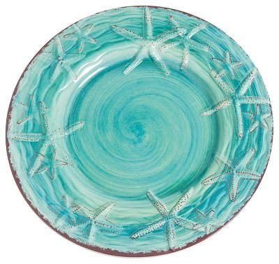 Galleyware Raised Starfish Melamine Salad/Dessert Plates, Turquoise, Set of 6