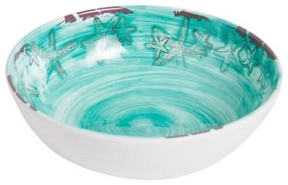 Galleyware Raised Starfish Melamine Turquoise Soup/Cereal Bowl, Set of 6