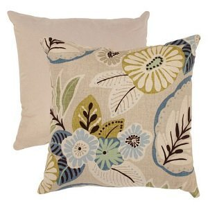 Pillow Perfect Beige and Blue Tropical Throw Pillow - 18 in square