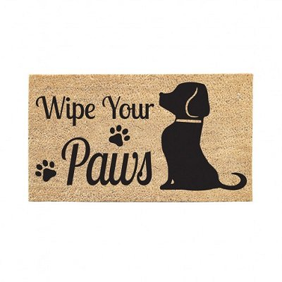Wipe Your Paws Dog Welcome Coir Doormat