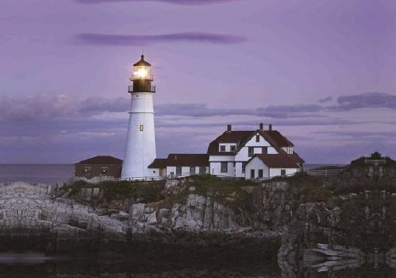LED Lighted Coastal Lighthouse Home with Purple Sunset Canvas Wall Art
