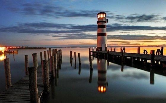 LED Lighted Coastal Sunset Lighthouse Scene Canvas Wall Art