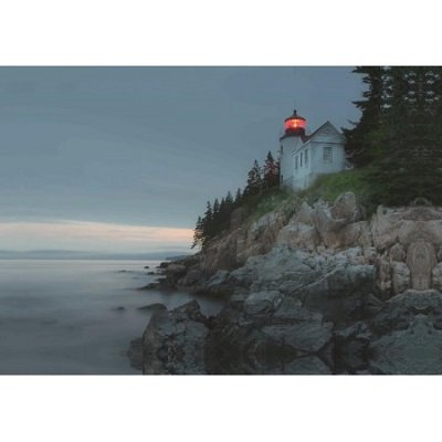 LED Lighted Lighthouse Home with Morning Sunrise Canvas Wall Art