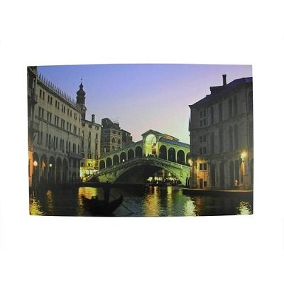 LED Lighted Venice City Italy Nighttime Scene Canvas Wall Art