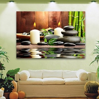 Stretched LED Canvas Print Art Candles And Stones