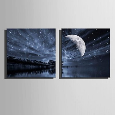 Stretched LED Canvas Print Art Lake Sky LED Flashing Optical Fiber Print Set of 2