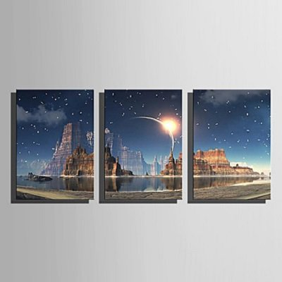Stretched LED Canvas Print Art Flashing Optical Fiber Landscape Print Set of 3