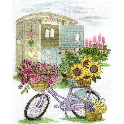 Flowery Bicycle Counted Cross Stitch Kit