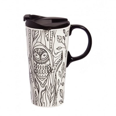 Just Add Color Forest Friends Owl Ceramic Travel Coffee Mug