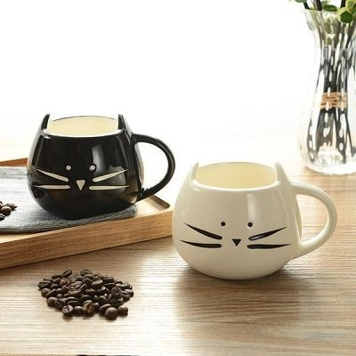 Lovely Ceramic Black and White 2-Pieces Cat Lovers Pattern Coffee Cup