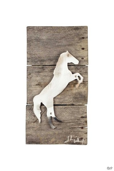 Raring Stallion Horse Wood & Metal Art Wall Decor