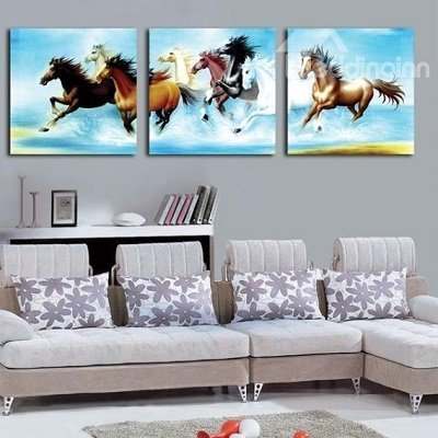 Rushing Horses Printed Hanging Canvas Waterproof and Eco-friendly Framed Prints