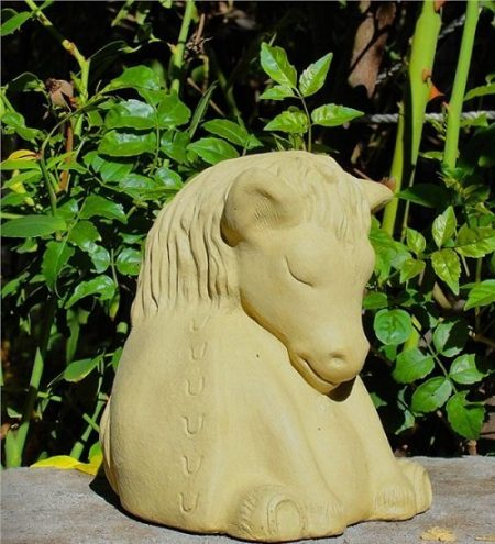 Solid Cast Stone Meditating Horse