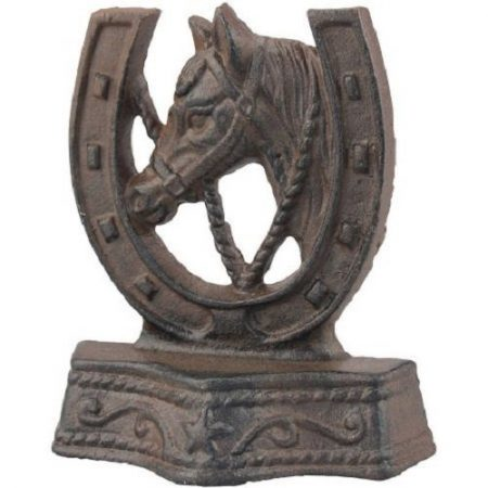 Weathered Rust Cast-Iron Horse and Horseshoe Door Stopper