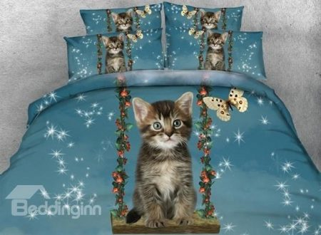 3D Cat and Butterfly Printed 4-Piece Bedding Sets Duvet Cover
