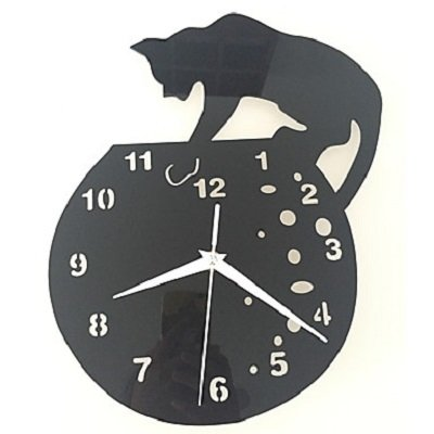 Acrylic Dial and Hand Cat Wall Clock Round