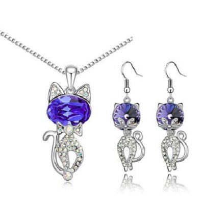 Austria Crystal Naughty Cat Platinum Rhinestone Necklace Earrings Jewelry Set