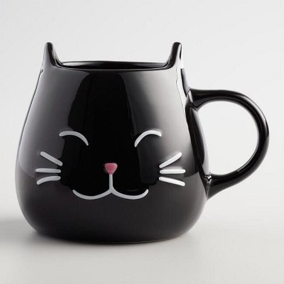 Black Cat Mugs Set Of 2