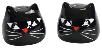 Black Kitty Cat Heads Halloween Salt and Pepper Shaker Set