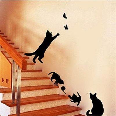 Black cats silhouettes decorative wall stickers