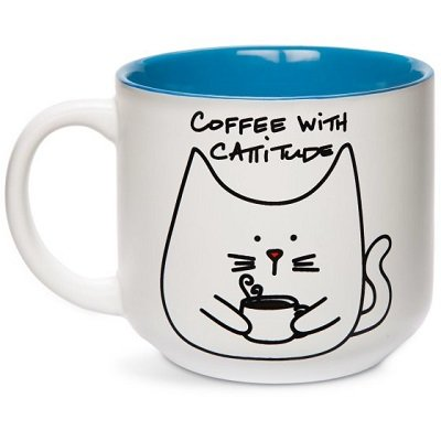Blobby Cat - Funny Cat Coffee with Cattitude Blue 18oz Coffee Mug