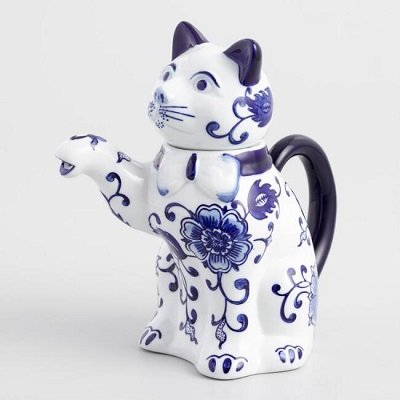 Blue And White Porcelain Cat Teapot