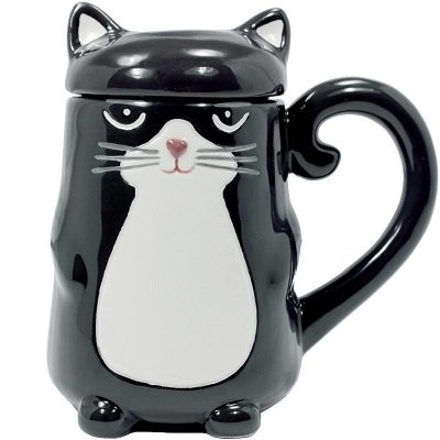Ceramic Cat Mug with Lid