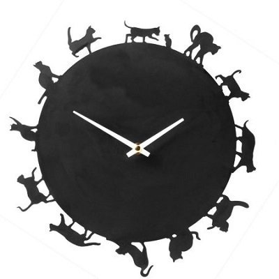 Cat Silhouettes Black Metal Round Wall Clock