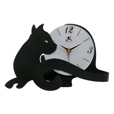 Cat Tail 11.5 inch Table Top Clock