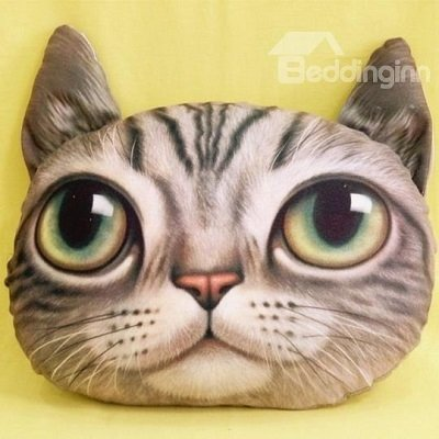 Chic Lovely Gray Kitty Cat Eyes Wide Open Print Throw Pillow