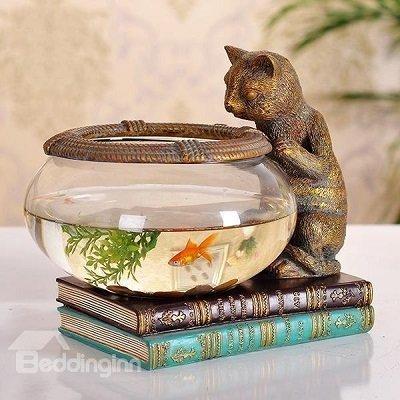 Creative Cute Little Cat Fish Bowl Desktop Decoration