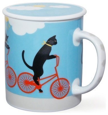 Cruiser Cat Green Mug With Lid, Blue