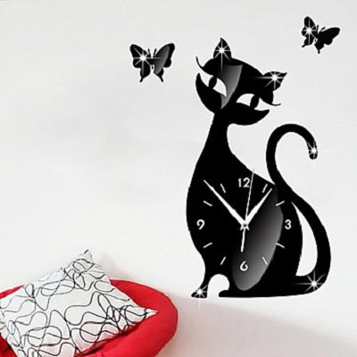 Cute Cat Wall Clock Mute Children Bedroom Wall Clock Creative Decoration