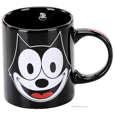 Felix the Cat Smiling Cartoon Black Coffee Mug