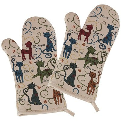 Festival Cats Oven Mitts - Set of 2